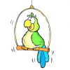Draw a cartoon parrot