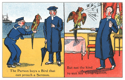 British saucy parrot postcard