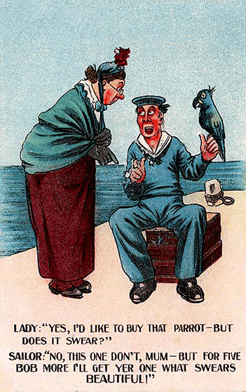 Sailor selling parrots